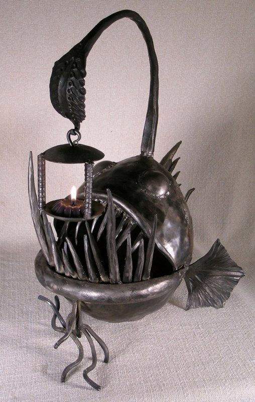 Anglerfish tea light lantern art in 2019 home decor for Mobilia mega store ottaviano