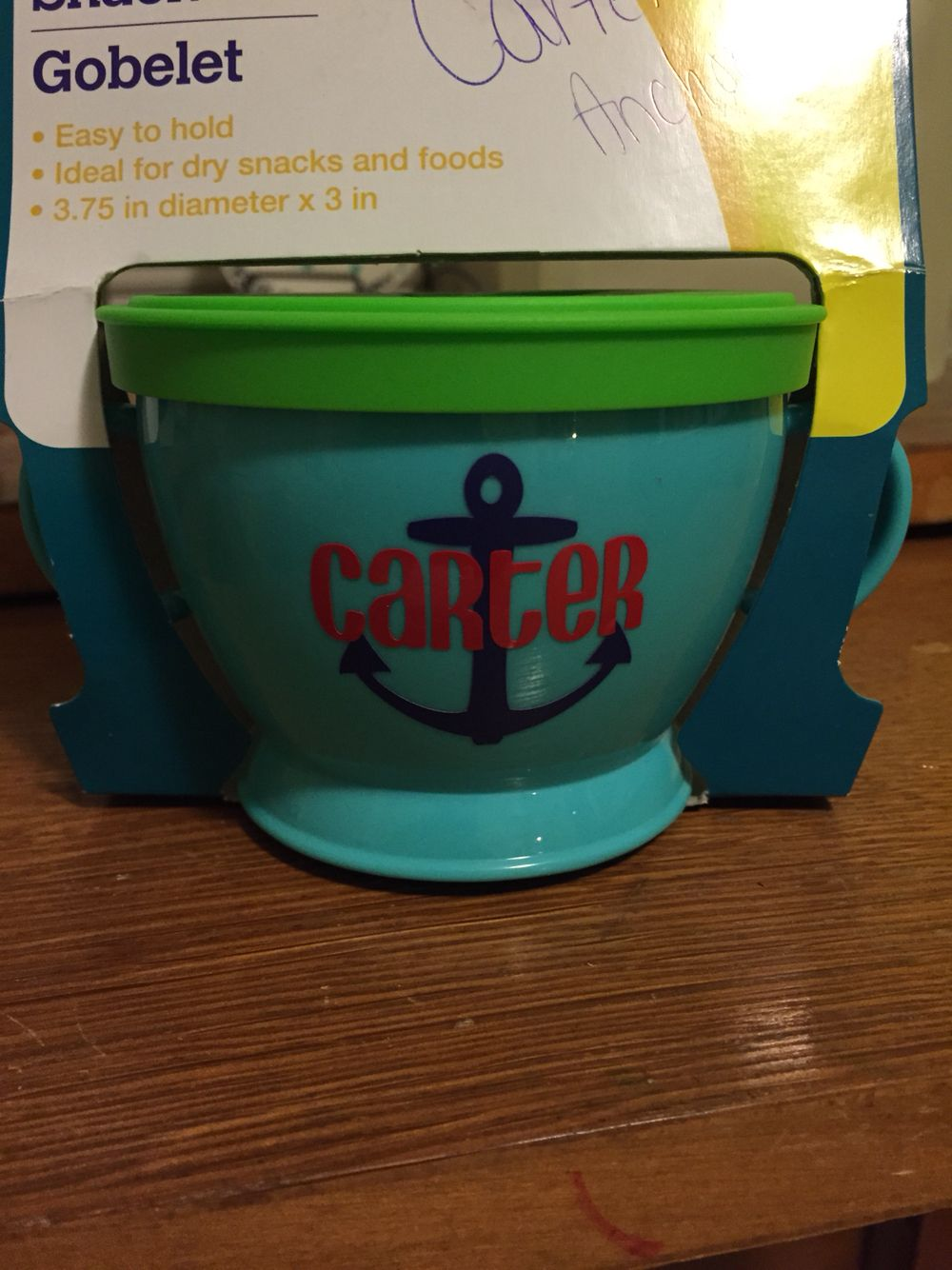 Boy anchor snack cup