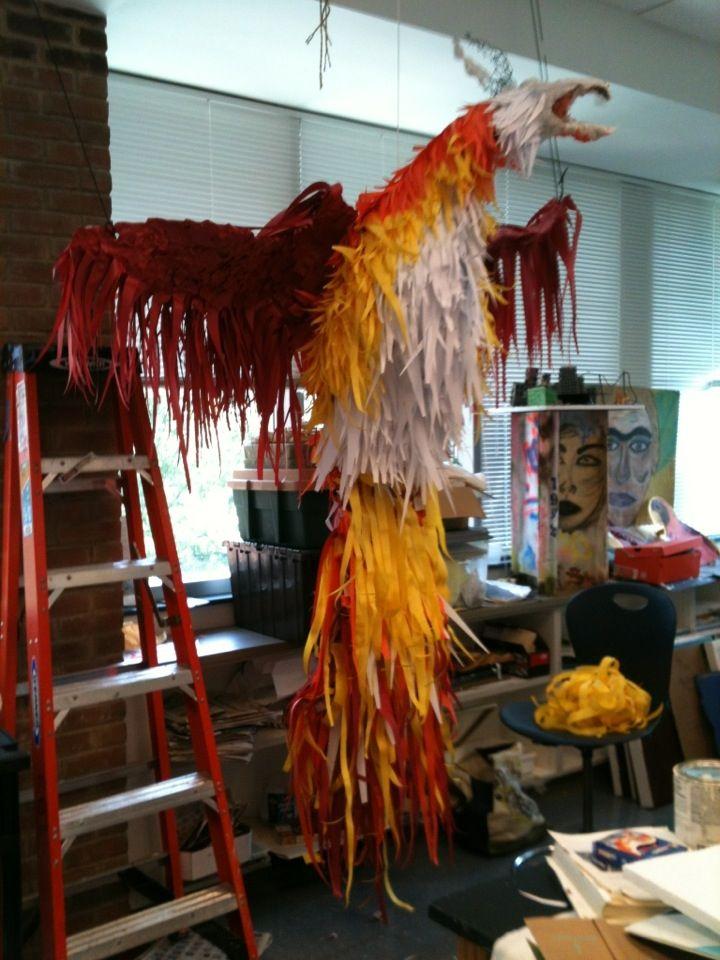 art class project - paper phoenix on a chicken wire frame. | DIY ...