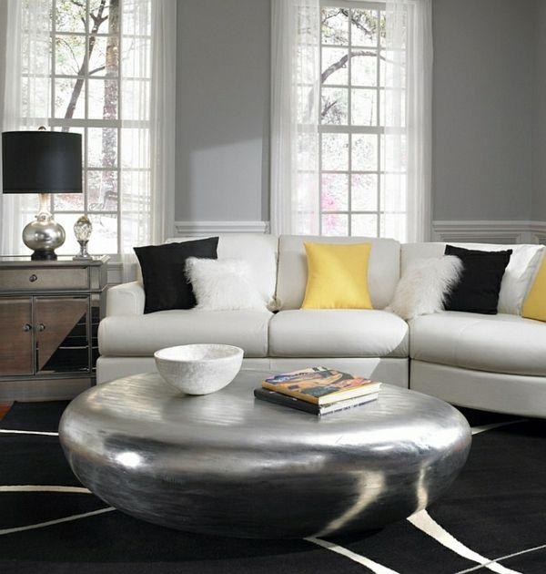 Wohnzimmer Farbgestaltung U2013 Grau Und Gelb   Farbgestaltung Grau Wand Gelb  Kissen Wohnzimmer