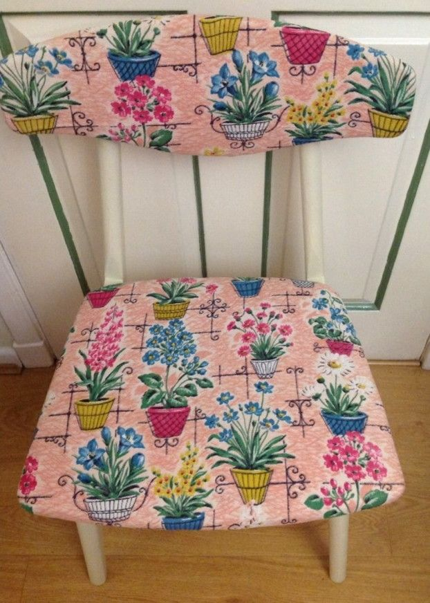 upcycled chair with 50's floral barkcloth