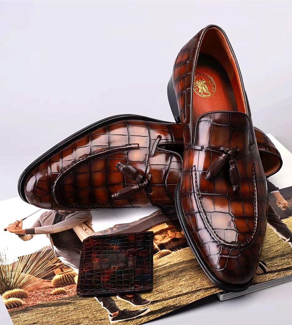 Handcrafted Mens Alligator Tassel Loafer SlipOn Shoes