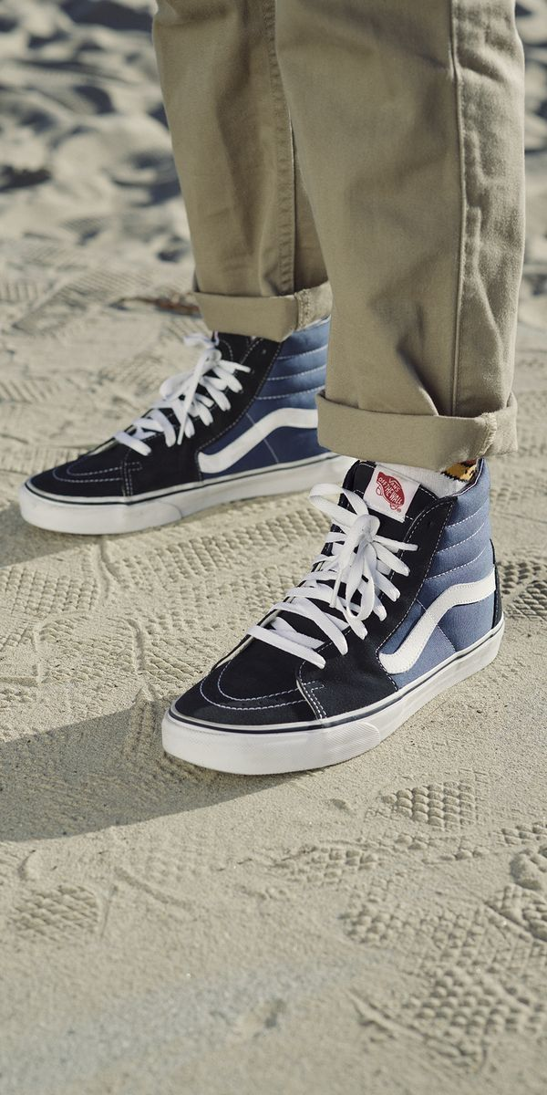 63c5766ba7c441 Get out and roam with the classic Vans Sk8-Hi s in Navy White. Shop our  Spring collection now.