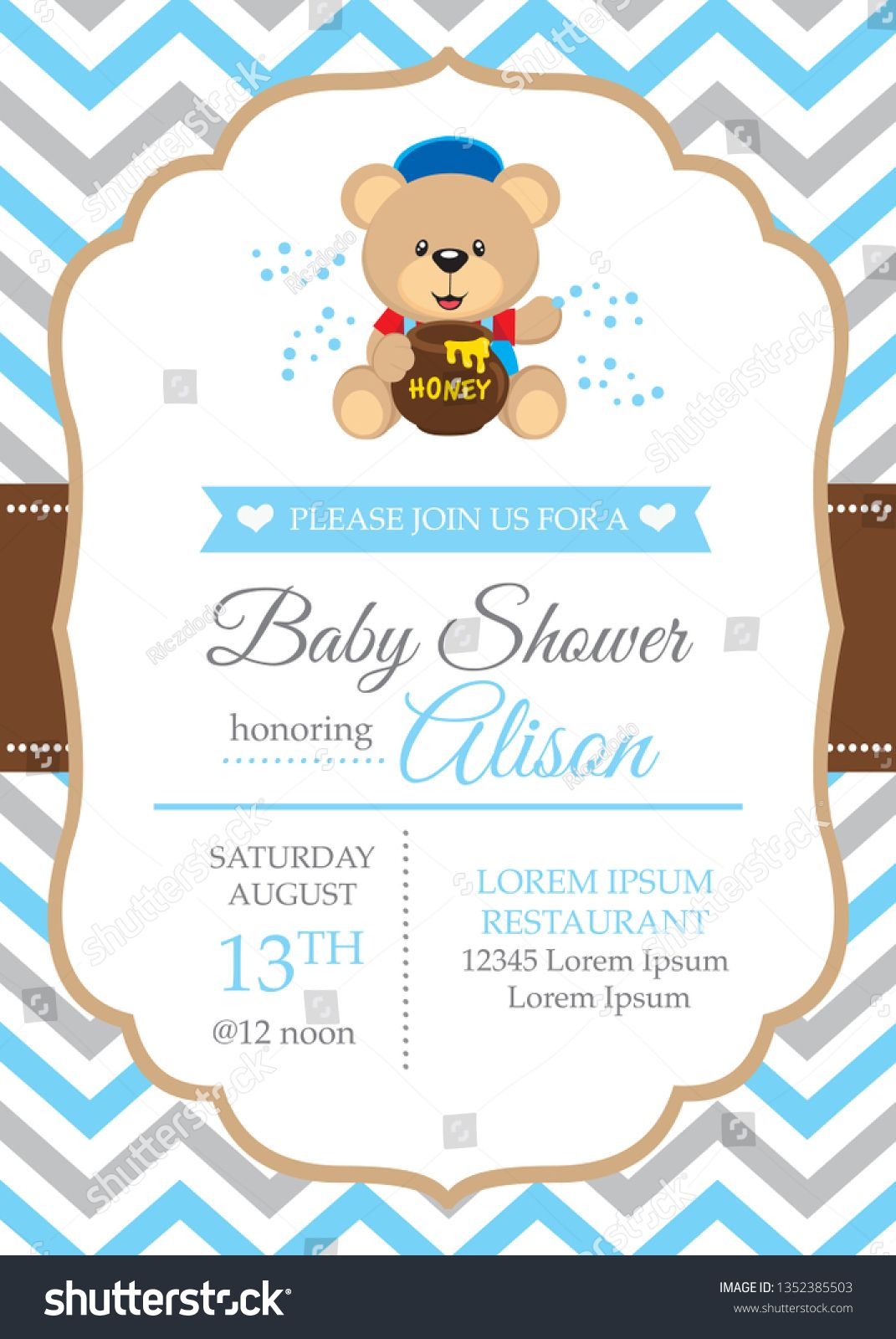 Beautiful baby boy shower card with cute bear. #babyshower #blue