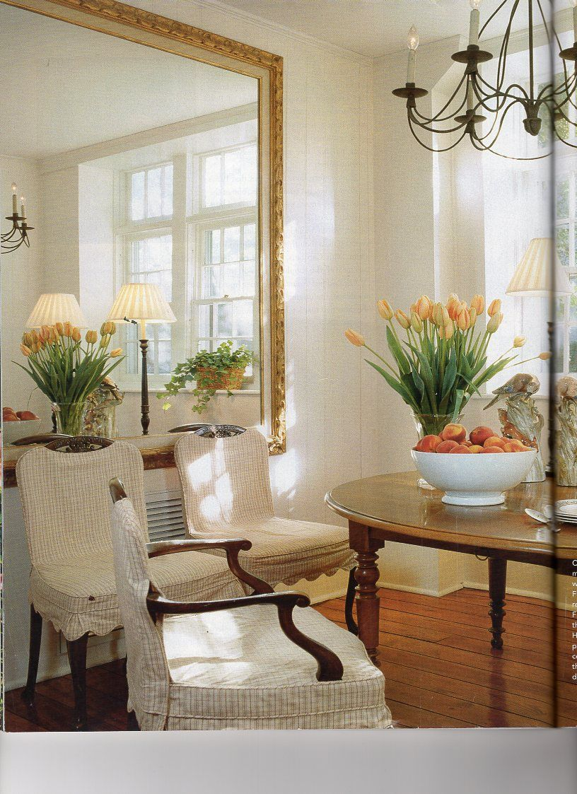 Dan Carithers Hung An Oversize Mirror In The Dining Room To Second Window Mirror Dining Room Room Home Decor