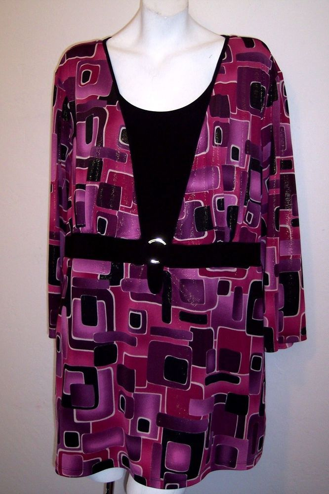 5a94eb9d6be Lane Bryant Top 26 28 Purple Sparkly Stretch Knit 2-Fer Shirt Plus Size 26/ 28 #LaneBryant #KnitTop #Casual