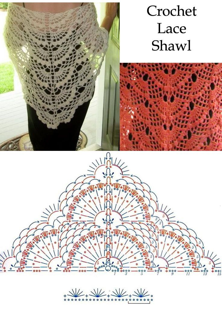 Crochet Lace Shawl free crochet graph pattern by carlasisters ...