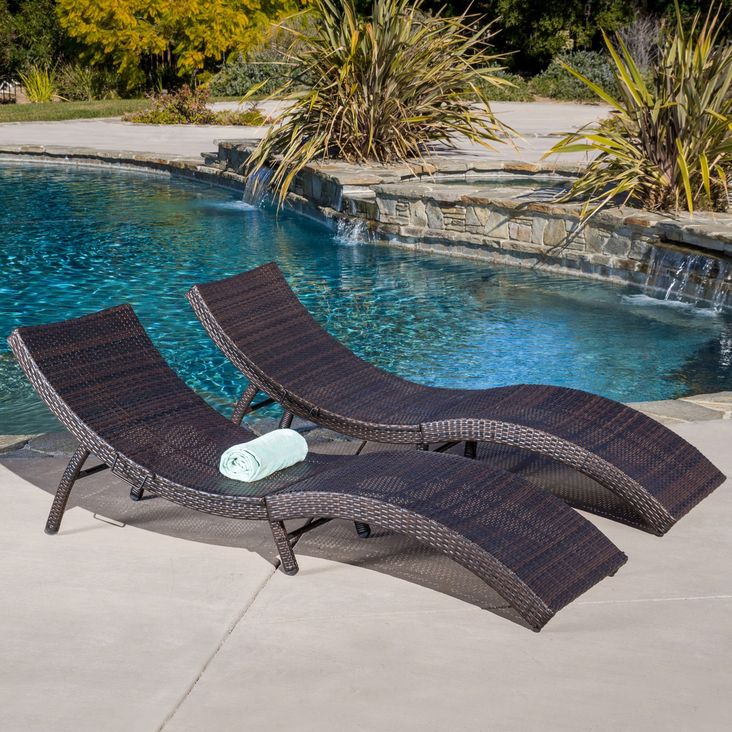 Acapulco Outdoor Wicker Folding Chaise Lounge Set Of 2