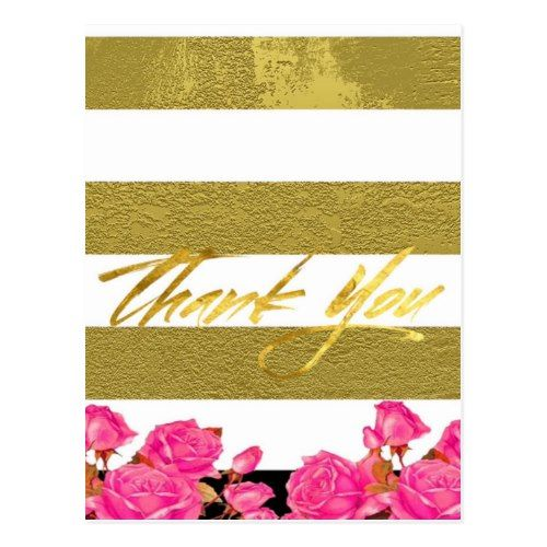 Elegant Gold And White Stripes Wedding  Thank You Postcard  Rose