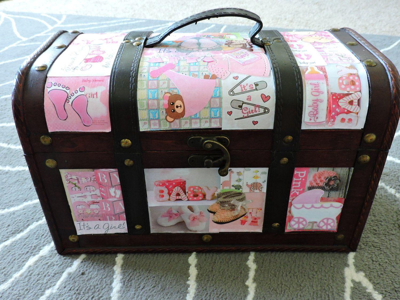 Baby Shower Gifts Keepsakes ~ Pink brown ballerina baby girl gift keepsake box keepsake trunk