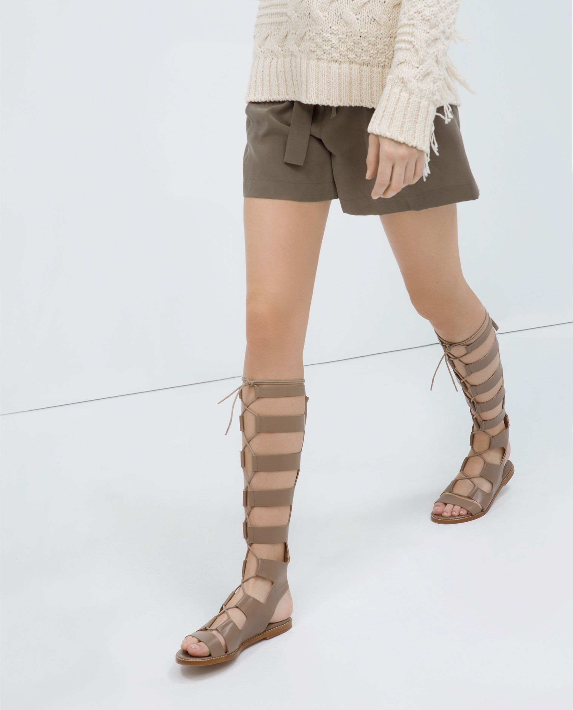 f0c91106450 Image 3 of LEATHER ROMAN SANDALS from Zara