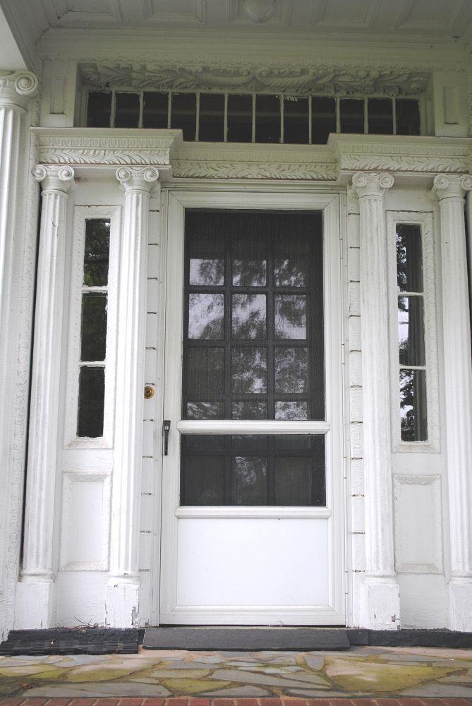 Antique Exterior Door Surround with door columns sidelights and transom & Antique Exterior Door Surround with door columns sidelights and ...