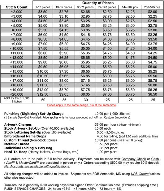 Image result for embroidery price sheet price list Invoice