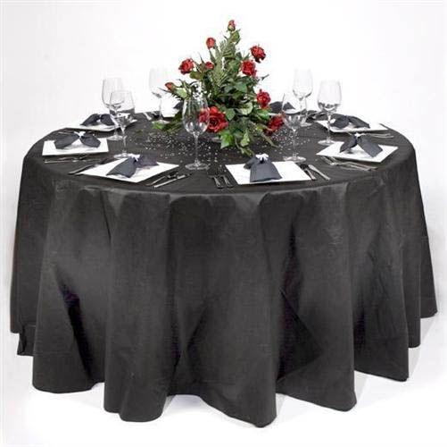 120 Round Disposable Black Olfin Tablecloth