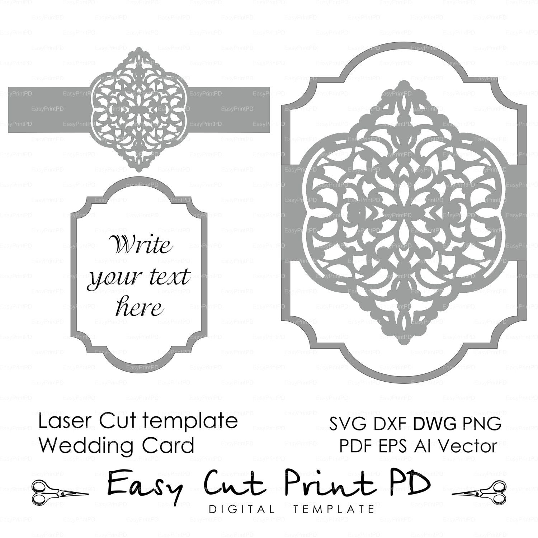 Wedding invitation Eastern Pattern Card Template Victorian mandala Lace (svg dxf ai eps png pdf) lasercut Instant Download Cameo Cricut