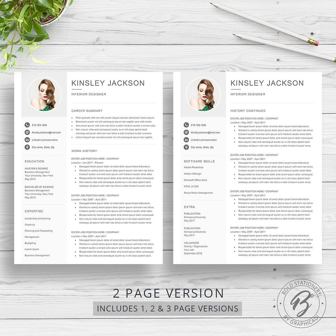 Resume Template For Word Facebook Linkedin Icons Twitter Media