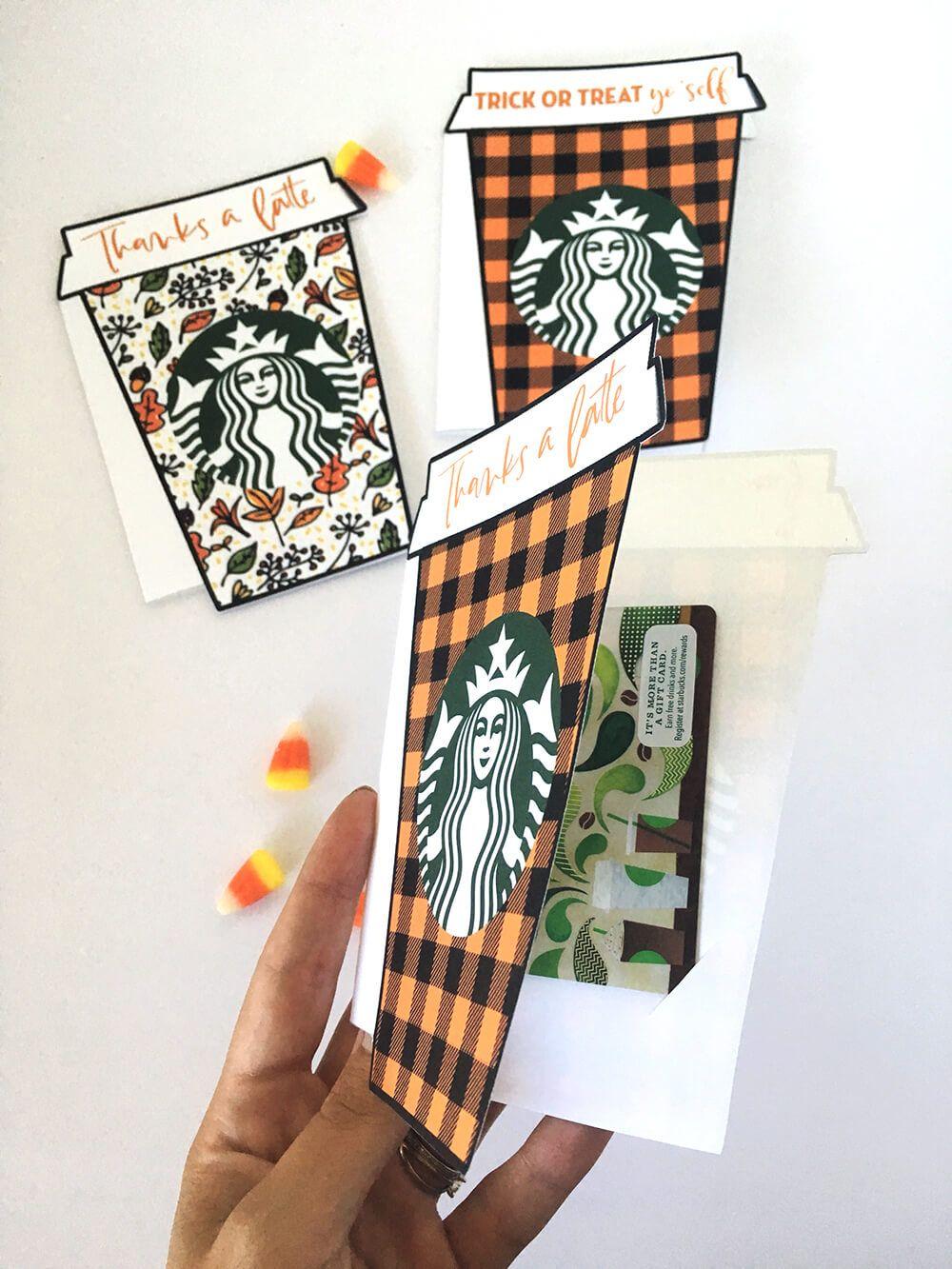 Fall thanks a latte starbucks gift card holder free