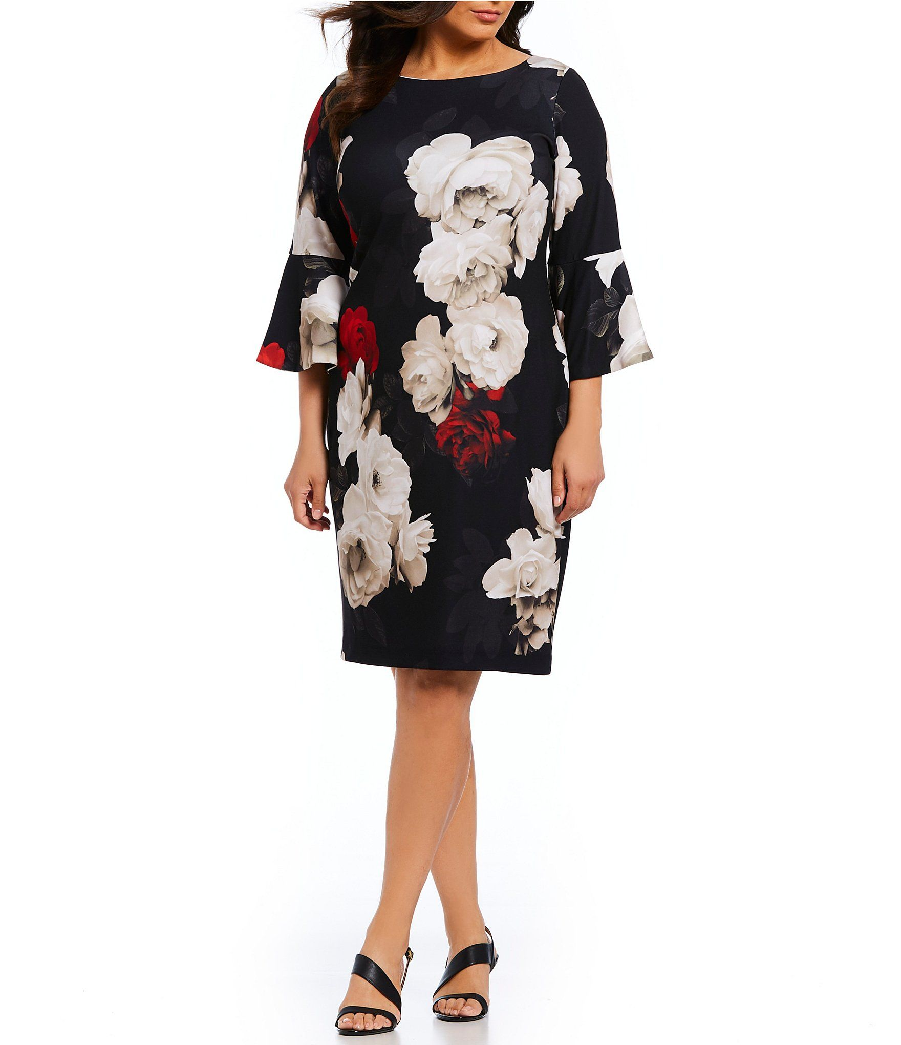 Calvin Klein Plus Size Floral Print Bell Sleeve Sheath Dress ...