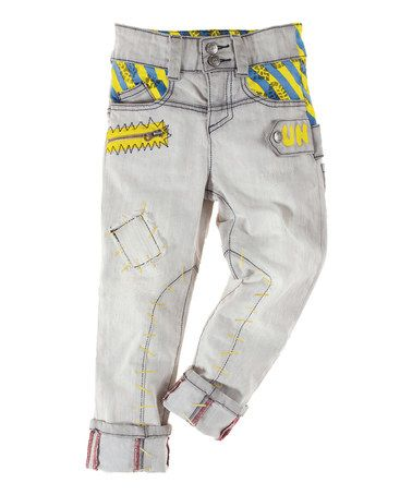 Look at this #zulilyfind! Gray & Yellow Distressed Pants - Toddler & Boys by Vicious Wear #zulilyfinds