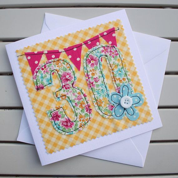 30th Birthday Card Handmade Machine Embroidered 30