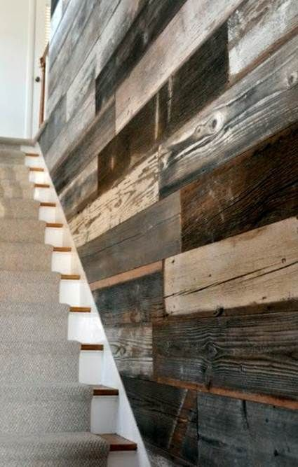 Paredes Con Palets Wood Stairs Reclaimed Barn Wood