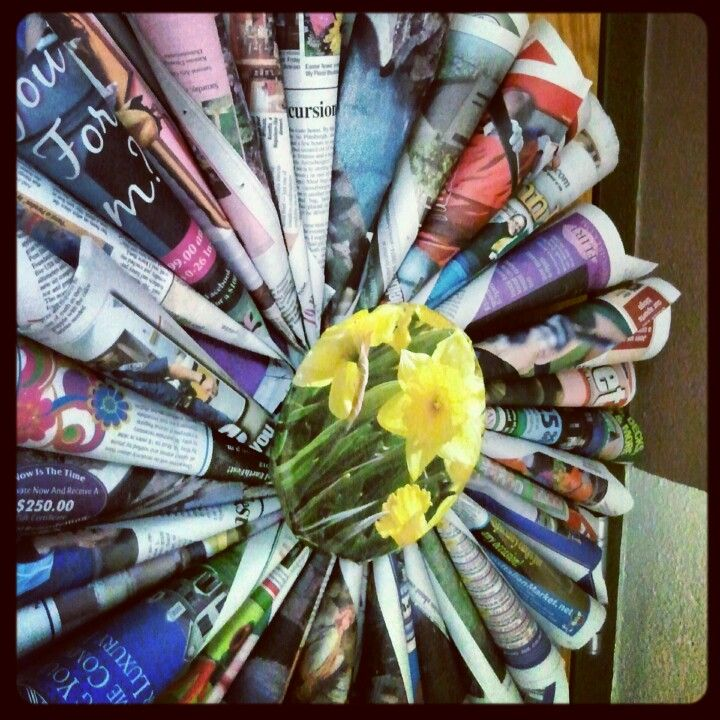 Earth Day newspaper flower door decoration my kiddos and I ...