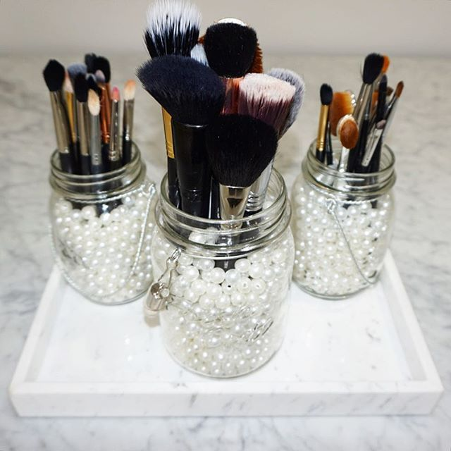 brush holder beads. my new brush holders! i got these three mason jars from michaels and filled them holder beads
