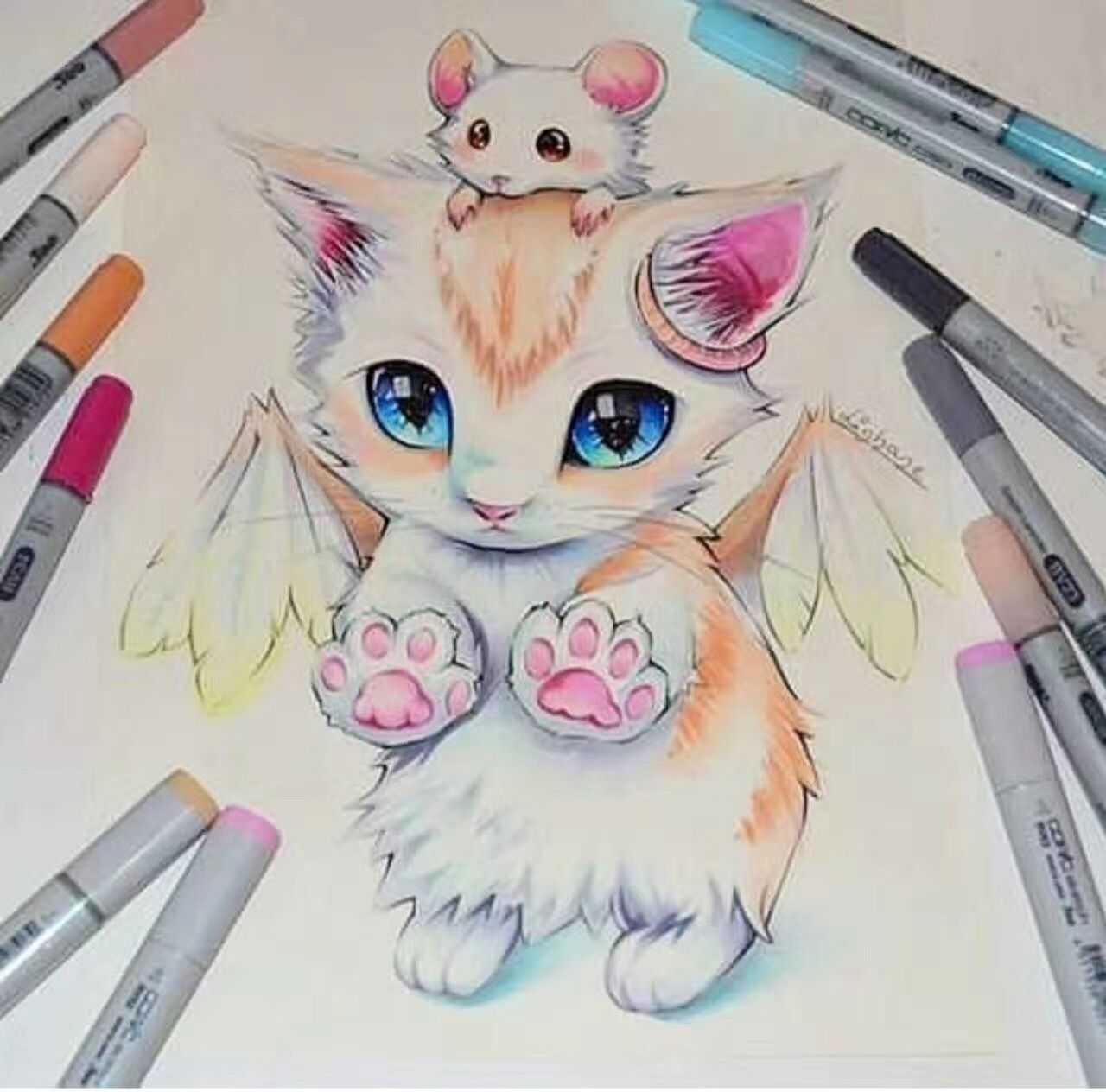 A Kitten With Wings And A Mouse Sooo Cute And Adorable Rajz