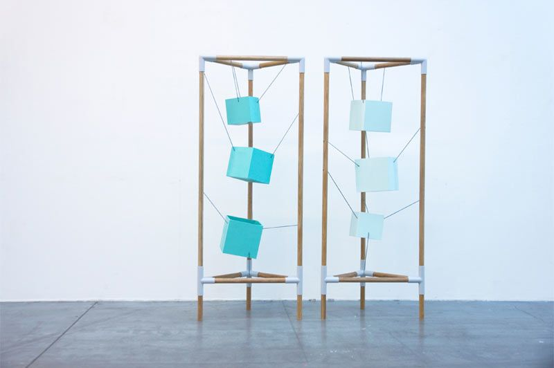 Inspired by the brain, Swedish designer Alexandra Denton created a sculptural storage cabinet to house your memories. Synapse, with its suspended cubes, reflects the brain's major roles: shaping connections, storing information, and accumulating memories.