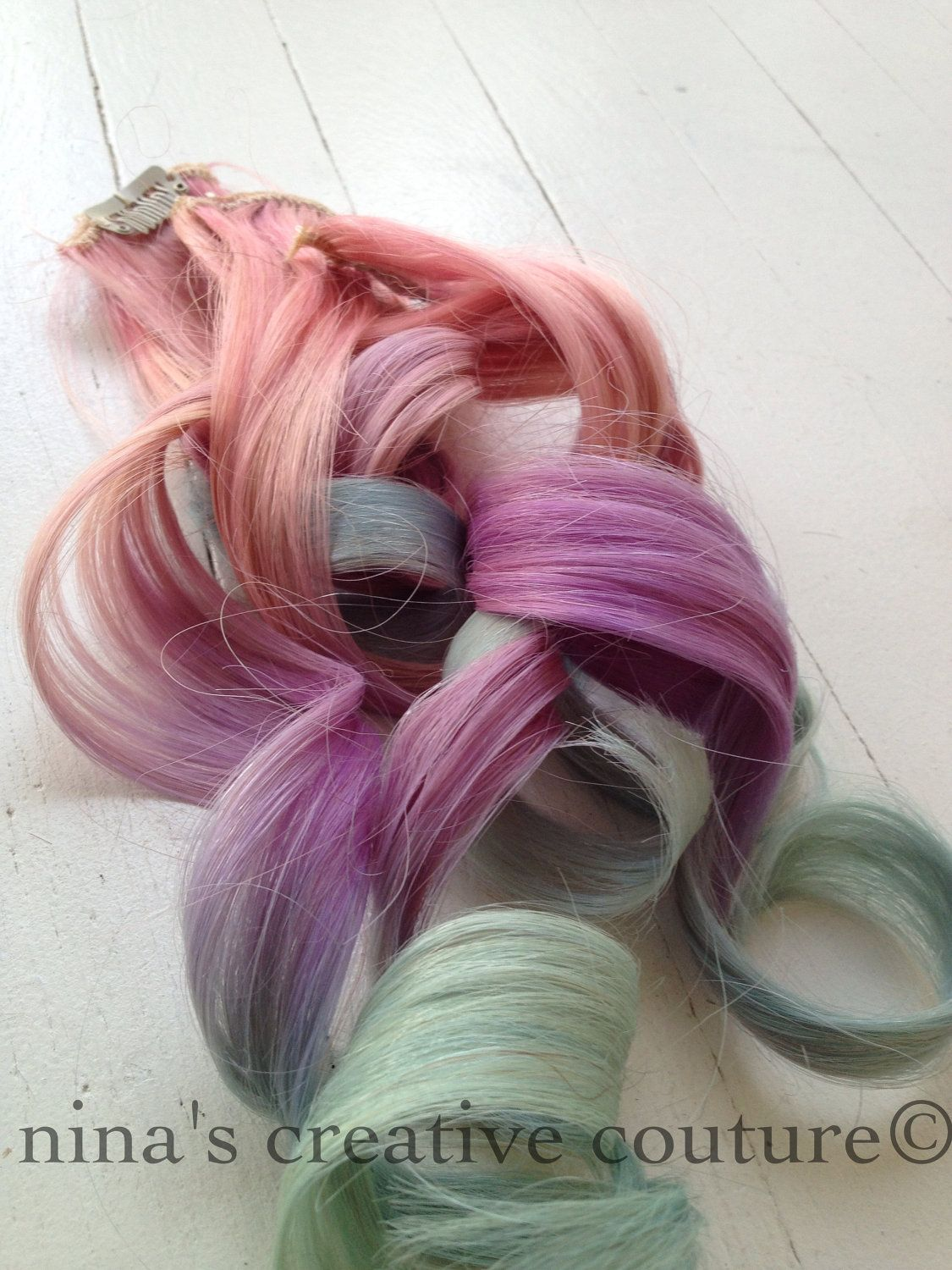 Pastel Tie Dye Ombre Hair Extensions Unicorn Hair With Pink Purple