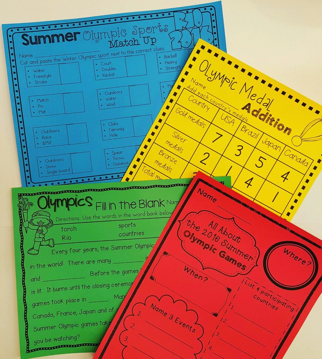 Summer Olympics Math And Ela No Prep Activities Includes