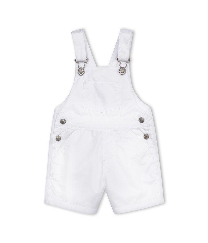 Salopette courte bébé garçon en serge craquante blanc Ecume - Petit Bateau