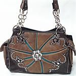 Brown and Turquoise Bling Purse