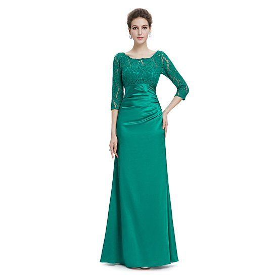 Emerald Green Long 3/4 Sleeves Illusion Neckline Prom Dresses With ...