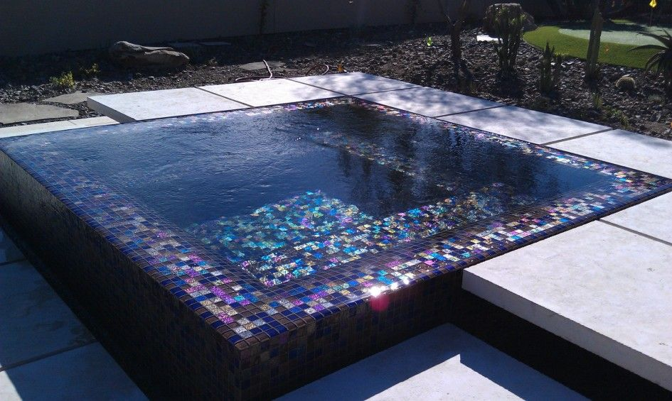 Captivating lightstreams glass tiles for pools with for Overflow pool design