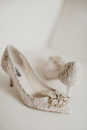 Dolce Gabbana Lace Bridal Pumps With Crystal Wedding Shoes