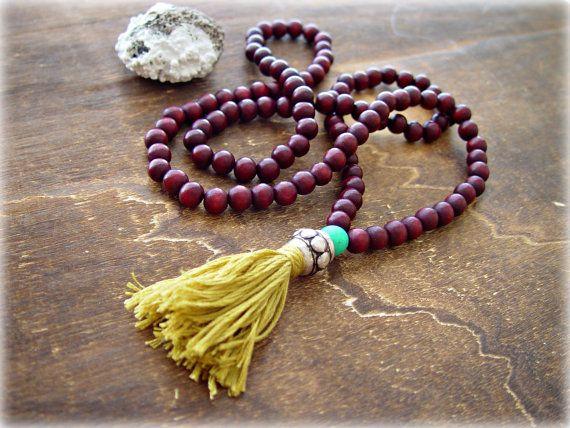 Yoga Mala Necklace  Yoga Tassel Necklace 108 by HandcraftedYoga