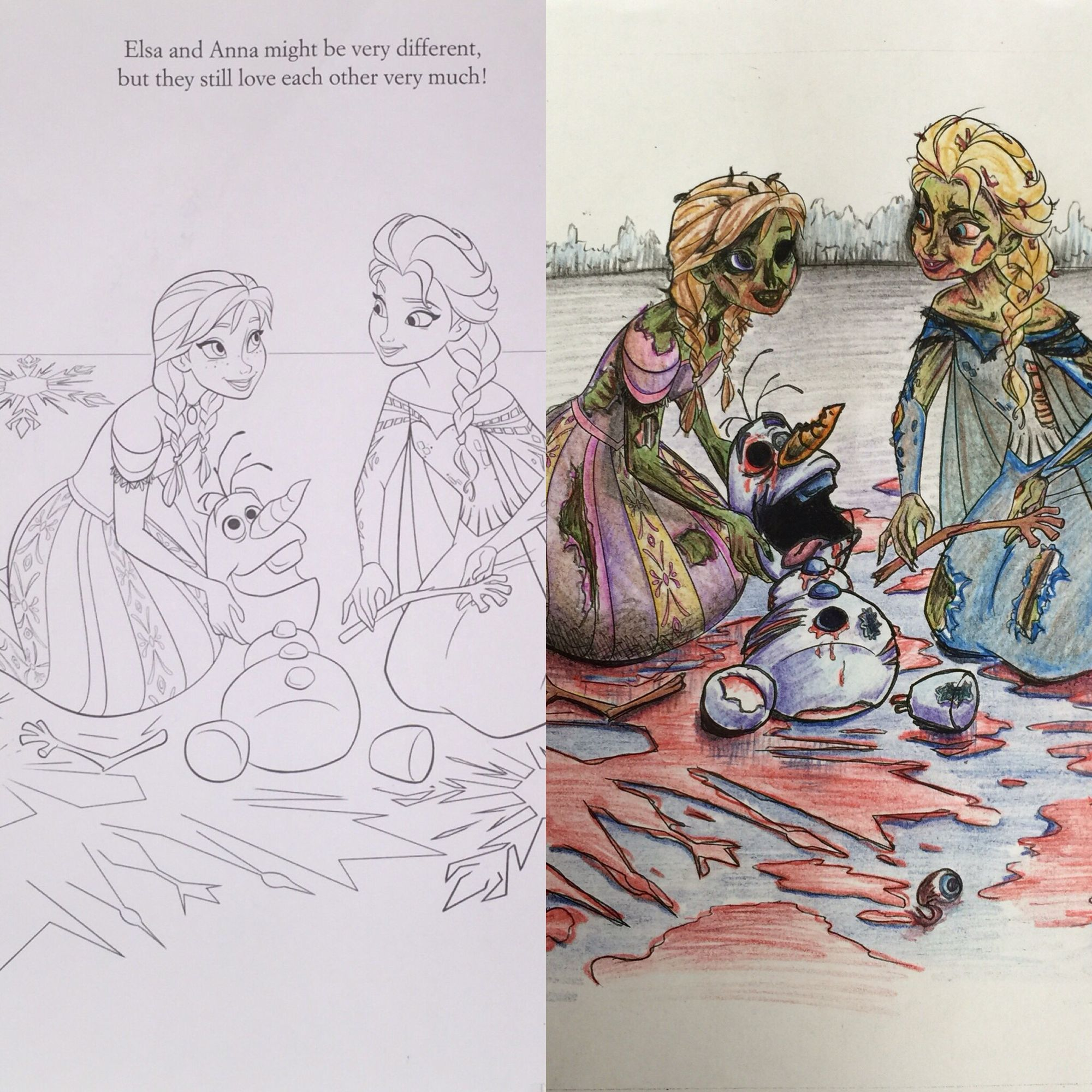 My First Coloring Book Corruption This Just Screamed Zombie Coloringbookcorruptions Creativeladartworks Frozen