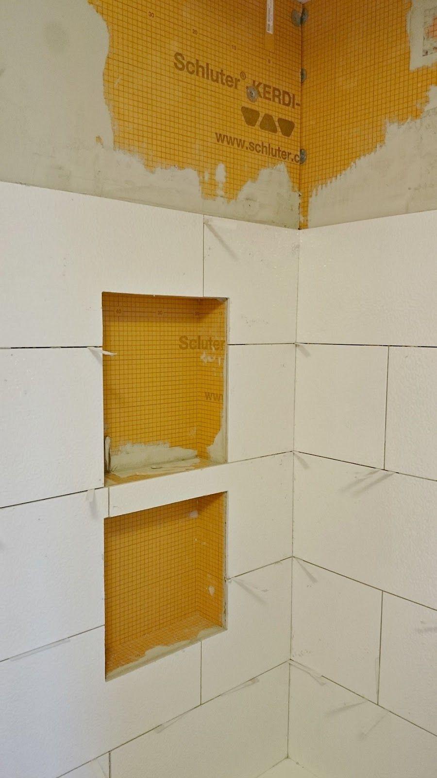 Installing Tile With Schluter Kerdi Board Shower Niche With Shelf