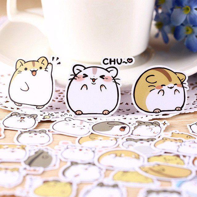 40pcs Kawaii Japanese Hamster Stickers