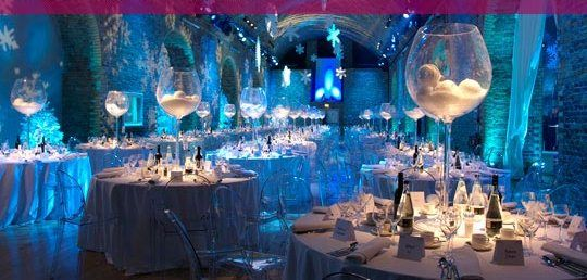 Christmas Party Ideas For Restaurant Employees : Love the large glass centerpieces disco balls instead