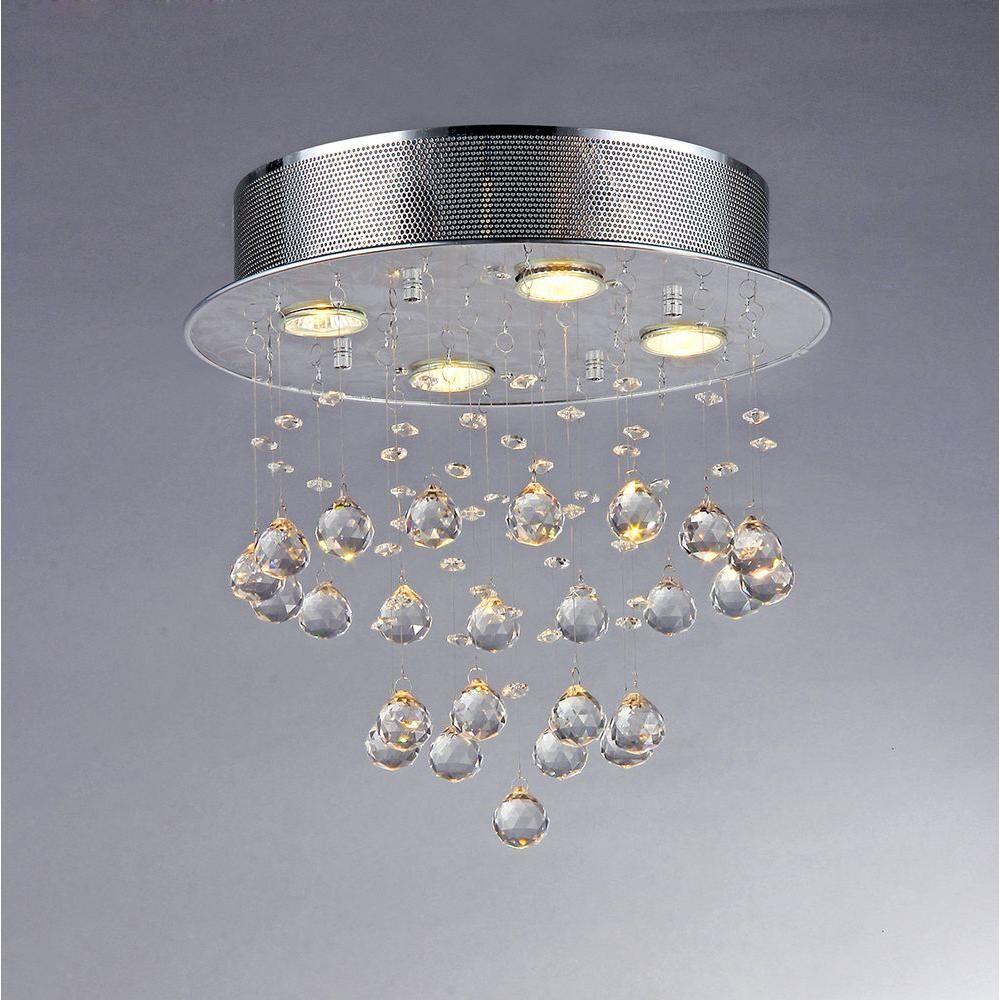 Warehouse Of Tiffany Scarlett 5 Light Crystal Chrome Ceiling Light Rl5676 The Home Depot Chrome Chandeliers Chandelier Warehouse Of Tiffany