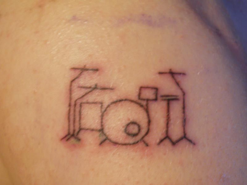 Simple Line Cute Drum Kit Drummer Tattoo From Show Your Tattoos
