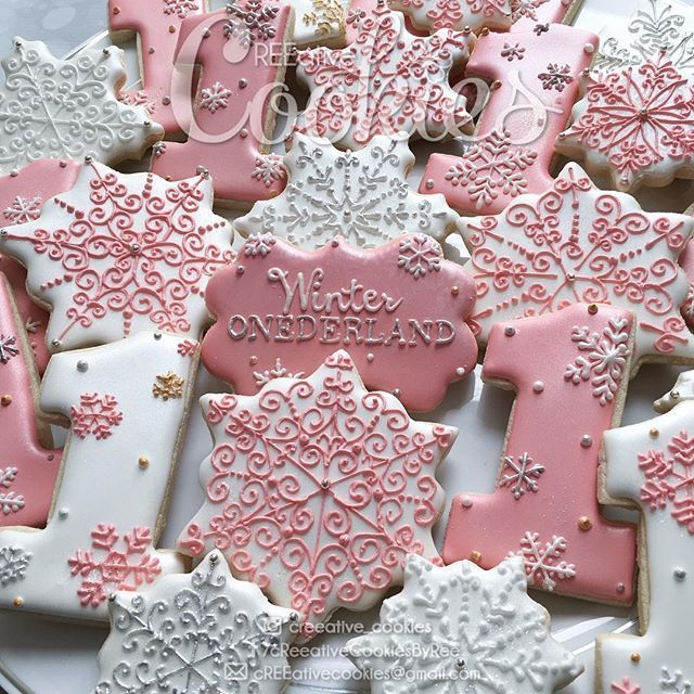 Closeup of Winter ONEderland cookies except Im not turning 1