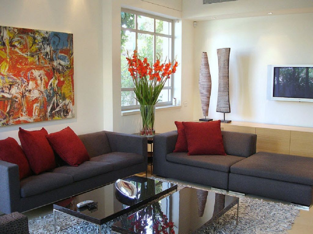 Living Room Furniture With Flowers And Red Cushions