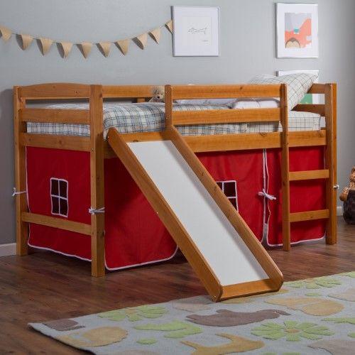 Pine Ridge Tent Twin Loft Bed With Slide Honey Camo Tent