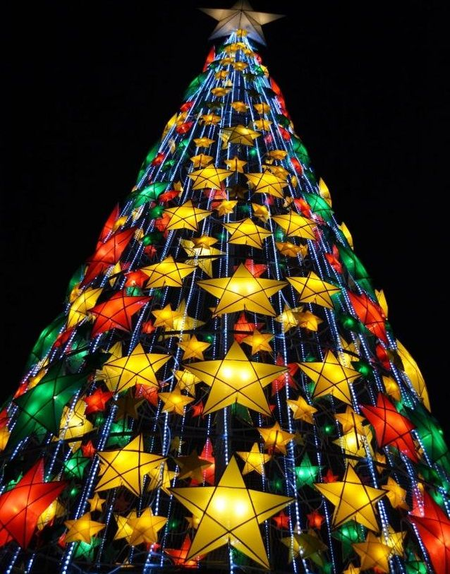 Check out this fun Christmas tree made from parol!