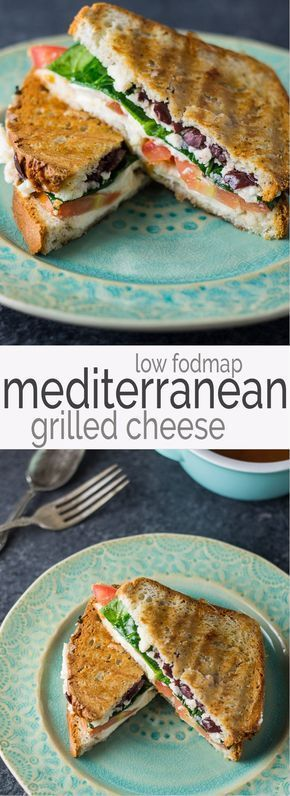 Fodmap Mediterranean Grilled Cheese Serve one or many with this easy-to-make Low Fodmap Mediterranean Grilled Cheese recipe. Full of color and flavor these gluten free and vegetarian sandwiches will quickly become a go-to! Perfect for Meatless Monday!