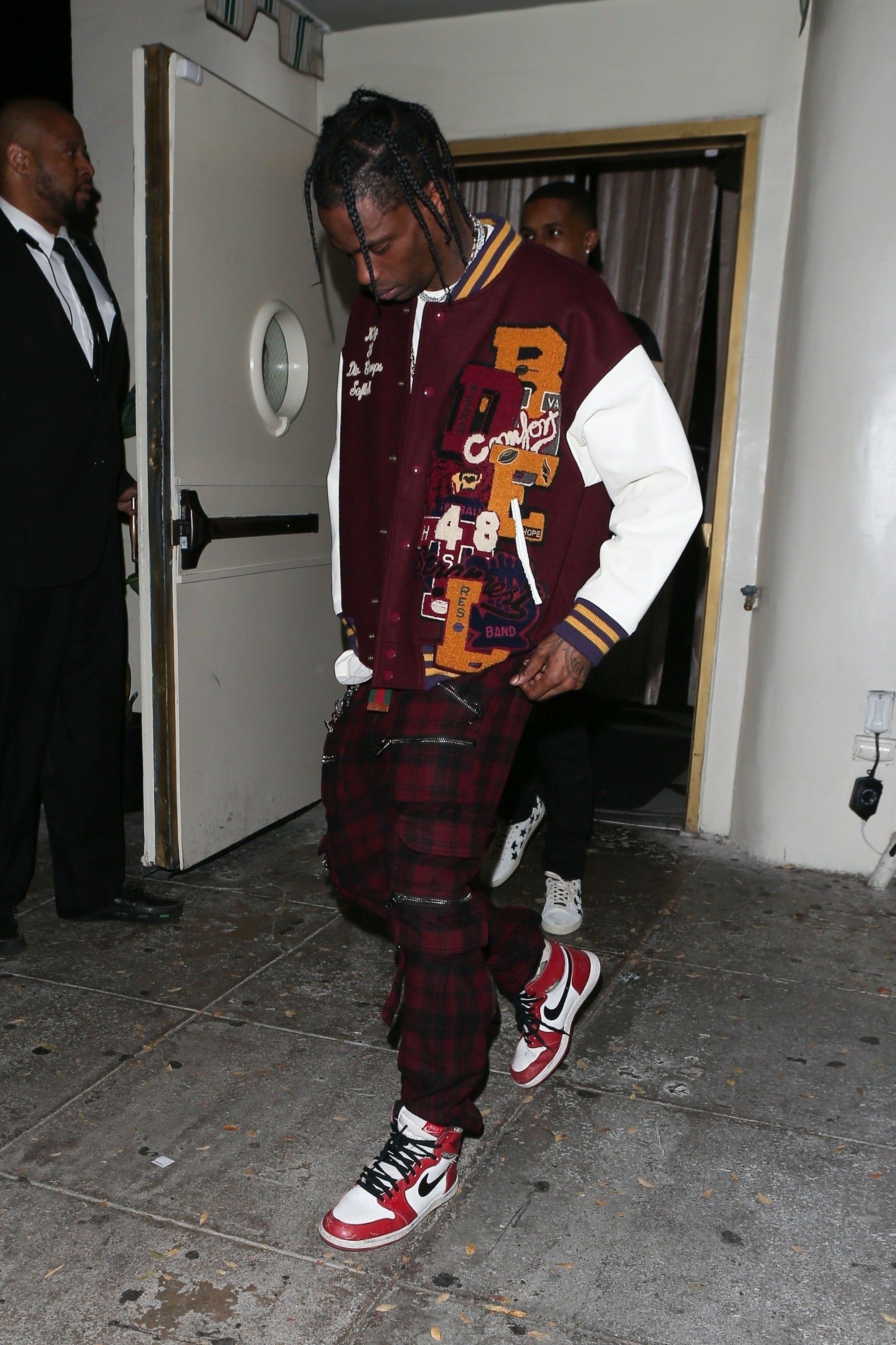 61193b4e164352 Travis Scott wearing Doublet  Chaos  Embroidery Letterman Jacket