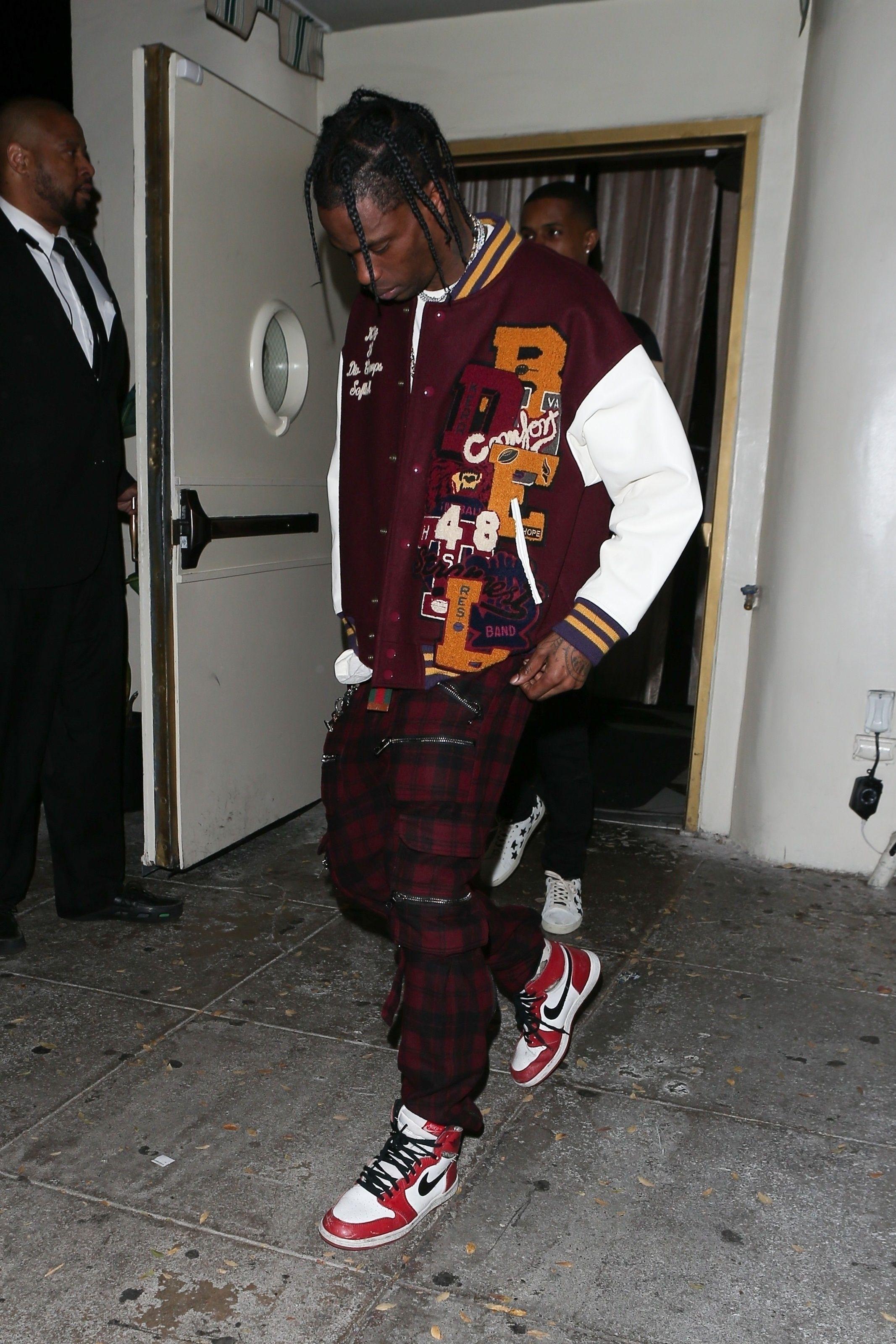 6117d4fb0250af Travis Scott wearing Doublet  Chaos  Embroidery Letterman Jacket